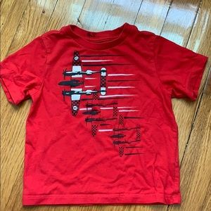 Red kids graphic tee with airplanes